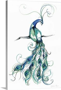 Great Big Canvas Contemporary painting of a male peacock perched on a branch showing its colorful plumage. Size: H x W x D, Format: Canvas Watercolor Peacock Tattoo, Peacock Drawing, Peacock Painting, Peacock Wall Art, Peacock Tattoo Sleeve, Peacock Bedroom, Peacock Print, Lace Tattoo, Tattoo Black