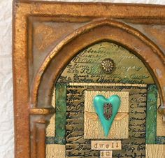 Polymer Clay Shrine, Decorator Piece in gold, bronze and teal-$90-etsy-RockInAHeartPlace
