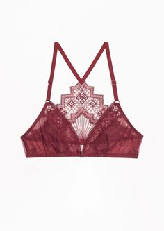 & Other Stories image 1 of Embroidery Soft Bra in Red Dark
