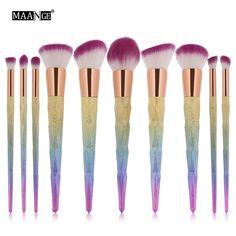 MAANGE Diamond Shape 10pcs Makeup Brushes Set Foundation Power Blush Blusher Eyeshadow Make Up Brush Beatuy Cosmetic tool kits