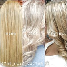 platinum blonde highlights Need help deciphering exactly what the difference is between warm, cool and neutral blondes Try putting together a compilation of your own work to Cool Toned Blonde Hair, Neutral Blonde Hair, Yellow Blonde Hair, Blonde Highlights On Dark Hair, Blonde Hair Looks, Blonde Color Chart, Hair Shades, Shades Of Blonde, Low Lights Hair
