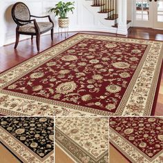 Anchor a den, dining area, or other big room with this large traditional area rug available with a red, black, or ivory background color. Machine-made from synthetic materials, this beautiful bordered rug also has the benefit of being allergen-free.