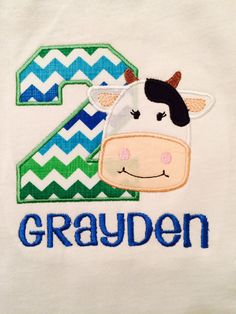 Personalized Boy's Cow Birthday Applique Monogrammed by KooCooSay, $19.00