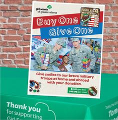 Great cookie booth table top sign to promote donating cookies to the military troops. Smiles4Military program is active in the Girl Scouts of Greater Atlanta council.
