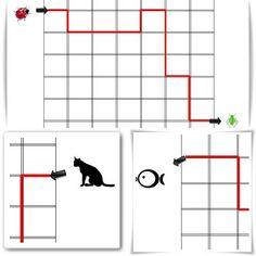 Un fichier composé de 4 fiches proposant des déplacements sur quadrillage de gauche à droite mais aussi de droite à gauche. J'ai créé volontairement des lignes évidées pour permettre un color… Fun Math, Montessori, Preschool, Kids Rugs, Teaching, How To Plan, Books, Perception, Halloween