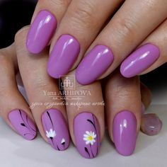Nail art Christmas - the festive spirit on the nails. Over 70 creative ideas and tutorials - My Nails Cute Nails, Pretty Nails, My Nails, Purple Nail Art, Sunflower Nails, Flower Nail Art, Easy Nail Art, Perfect Nails, Manicure And Pedicure