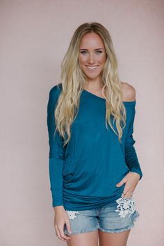 Off the Shoulder Long Sleeved Dolman - Dark Teal from Gypsy Outfitters - Boho Luxe Boutique