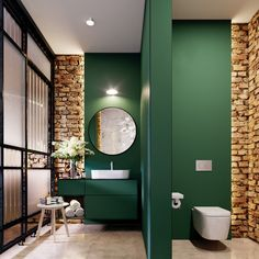 Green painted bathroom I brick wall