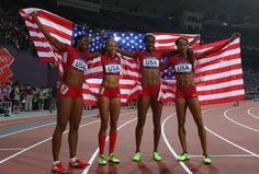 Francena McCorory, Allyson Felix, DeeDee Trotter and Sanya Richards-Ross celebrated winning gold in the women's 4x400m relay. Look at the abs on these ladies!