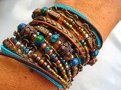 "Stunning Chic Endless Leather Wrap Czech Crystal Azurite Beaded Bracelet ""Moroccan Market""....Adjustable  by LeatherDiva, $58.00"