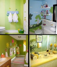 """""""Caleb's"""" bathroom ideas - top left, small enough room to maybe play with stripes :-)"""