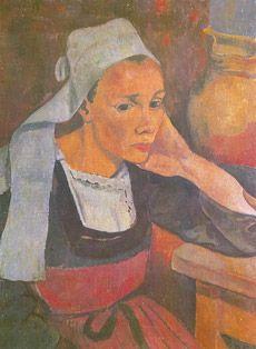Paul Sérusier — Portrait de Marie Lagadu (1889) acquisition et restauration grâce mécénat Crédit mutuel, musée de Pont Aven