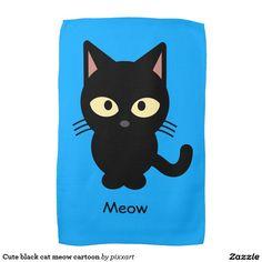 Cute black cat meow cartoon kitchen towels
