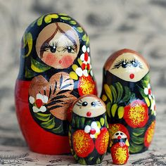 4 in 1... Matryoshka  nesting doll... HOME DECOR... by CoolVintage