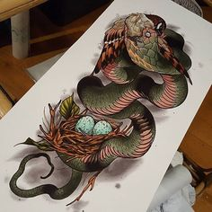"""Check out this gorgeous new #painting by the always-awesome @filthytattooart ! We love Currar's amazing work and are so stoked to include lots of his #snake treasures in our upcoming """"Slithers & Scales of Inspiration"""" book! Stay tuned for more information about the """"Slithers"""" book soon. We hope to have the artist list up later next week and are looking at an October release date. It's absolutely FULL of reptiles, dinosaurs, amphibians, and dragons...featuring tattoos, paintings, drawings…"""
