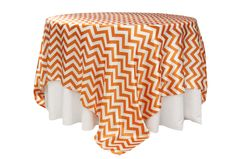"""Chevron 90""""x90"""" Square Satin Table Overlay - Orange ● As Low as $6.99 ● Available from www.cvlinens.com"""