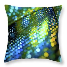 Oksana Ariskina Throw Pillow featuring the digital art Bokeh Green Dots by Oksana Ariskina  #OksanaAriskina #OksanaAriskinaFineArtPhotography #Artworks #FineArtPhotography #HomeDecor #FineArtPrints #FineArtAbstract #Fractal #AbstractBackgrunds #ArtForSale #Bokeh #Dots #Green #Blue #Yellow #Xmas #Pillow #Cushion