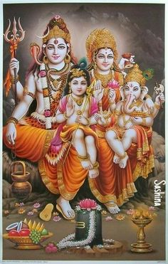 Shiva, Parvathi, Ganesha, and Muruga Shiva Parvati Images, Shiva Hindu, Shiva Art, Hindu Deities, Hindu Art, Lord Shiva Hd Images, Lord Vishnu Wallpapers, Lord Ganesha Paintings, Lord Shiva Painting