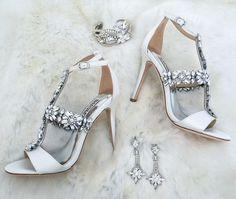 Winter Wedding vibes. Badgley Mischka Munroe crystal bridal sandals, Erin Cole bridal jewelry