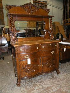 1900s Boher Phillips Fancy Oak Antique Sideboard Buffet Dining Room