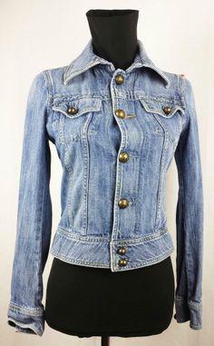 DIESEL Women s Distressed Cotton Jean Jacket size S M RARE Diesel 2ecaee7d493