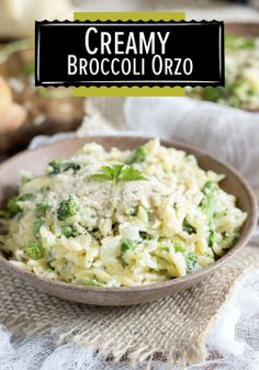 Creamy broccoli and sweet pea orzo dish. This dish can be made in one ...