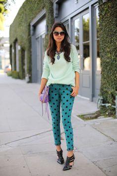 Spruce It Up - Polka Dot Jeans + Mint Sweater #streetstyle @Annabelle Fleur #vivaluxury