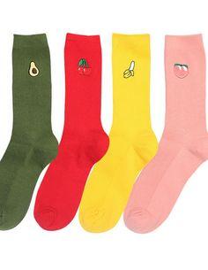Women Fruit Pattern   Loose  Socks