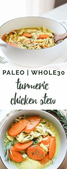 Nourishing and hearty, this Paleo Creamy Chicken Stew features warming herbs including turmeric in a creamy coconut milk base.