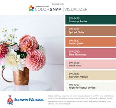 I found these colors with ColorSnap® Visualizer for iPhone by Sherwin-Williams: Country Squire (SW 6475), Spiced Cider (SW 7702), Emberglow (SW 6627), Pink Flamingo (SW 0080), Bella Pink (SW 6596), Roycroft Vellum (SW 2833), High Reflective White (SW 7757).
