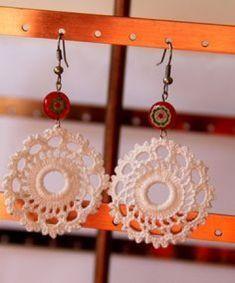 Items similar to Crocheted Earrings on Etsy Crochet Earrings Pattern, Crochet Jewelry Patterns, Crochet Accessories, Wire Crochet, Thread Crochet, Crochet Gifts, Jewelry Crafts, Handmade Jewelry, Textile Jewelry