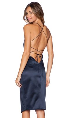 NICHOLAS Cross Back Dress in Navy