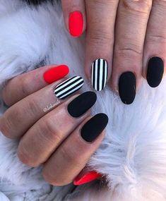 nails red and black \ nails red and black ; nails red and black design ; nails red and black acrylic ; nails red and black prom ; nails red and black matte ; nails red and black glitter ; nails red and black ombre ; nails red and black coffin Elegant Nail Designs, Best Nail Art Designs, Elegant Nails, Classy Nails, Stylish Nails, Elegant Chic, Black Nail Designs, Pretty Designs, Matte Nails