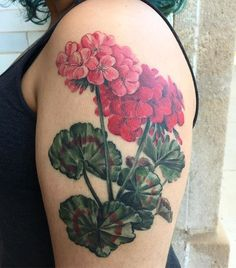 Got a healed photo of these red geraniums today! Thanks for coming by for this, Laurel- it's so useful to see how a tattoo settles in.