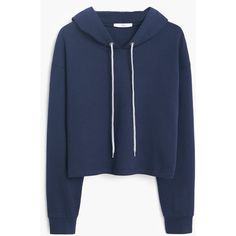 Mango Cotton Hoodie (£20) ❤ liked on Polyvore featuring tops, hoodies, jackets, sweaters, outerwear, long sleeve tops, blue hoodies, sweatshirts hoodies, long sleeve cotton tops and blue top