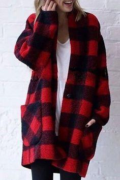 Red Plaid Pockets Long Sleeve Fashion Wool Coat