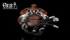 Байер новый магазин Нержавеющей Стали 316L браслет из натуральной кожи Панк властного дракон Цепи мужчины Браслеты Браслеты BC8 002 купить на AliExpress
