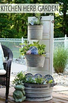galvenized tub planters