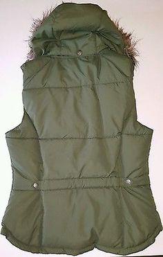H&M Logg Green Faux Fur Hood Waistcoat Bodywarmer Gilet Jacket Size 12 UK, 40 E