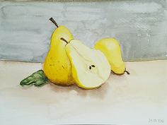 Learning in process: Watercolor pears #watercolor #pears #painting