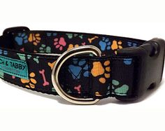 """Two Sizes Available! Pawz n' Bonez - Dog Collar   3/4"""" or 1"""" width Collar for Small to Large Dogs"""