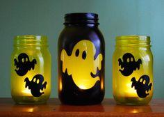 Halloween Mason Jar Candle Set Ghostly Glow by DSdecor on Etsy