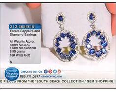 8.00ctw Sapphire & 1.50ctw Diamond 18K White Gold Earrings (8.90 gram weight)