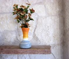 Fluted Orange Vase with Stone Gray accent / by CarriageOakCottage, $22.00