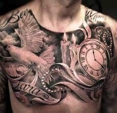 What does candle tattoo mean? We have candle tattoo ideas, designs, symbolism and we explain the meaning behind the tattoo. Dove Tattoos, Eagle Tattoos, Tattoos Skull, New Tattoos, Tattoos For Guys, Chest Tattoo Wolf, Chest Piece Tattoos, Chest Tattoo Clock, Chicanas Tattoo