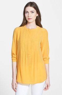 Lafayette 148 New York Collarless Silk Blouse available at #Nordstrom