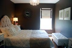 bedrooms - Benjamin Moore - Clinton Brown - Urban Outfitters Teardrop Chandelier, Bed bath & Beyond Roman Shade, Steven Meyer's Fern Print, ...