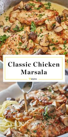 Here's how to make easy chicken marsala at home. This classic comfort food weeknight dinner or meal is easy to make and satisfying to eat. The mix of mushrooms, crispy chicken, garlic and angel hair make for a wholesome dish. Baked Chicken And Mushrooms, Cheesy Baked Chicken, Baked Chicken Breast, Baked Chicken Recipes, Crispy Chicken, Chicken Breasts, Skillet Chicken, Chicken Marsala With Mushrooms, Chicken Marsela