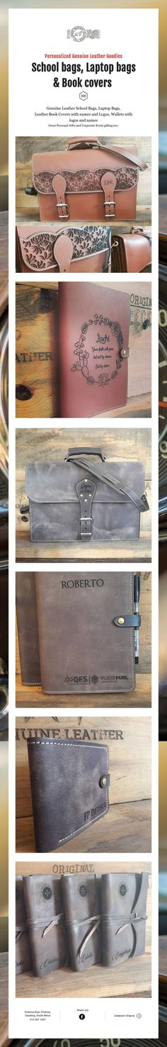 Personalized Genuine Leather Goodies School bags, Laptop bags & Book covers