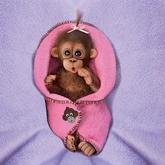 Ashton Drake CUDDLY CUTIES MONKEY BABY DOLL BY CINDY SALES - BUNDLE OF JOY